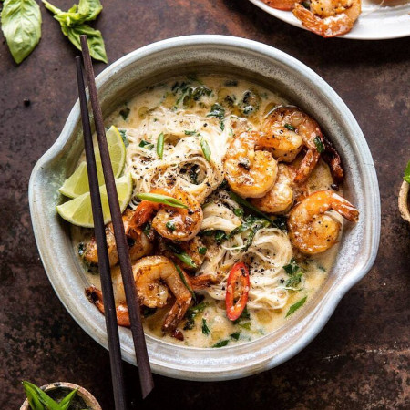 Saucy Garlic Butter Shrimp with Coconut Milk and Rice Noodles